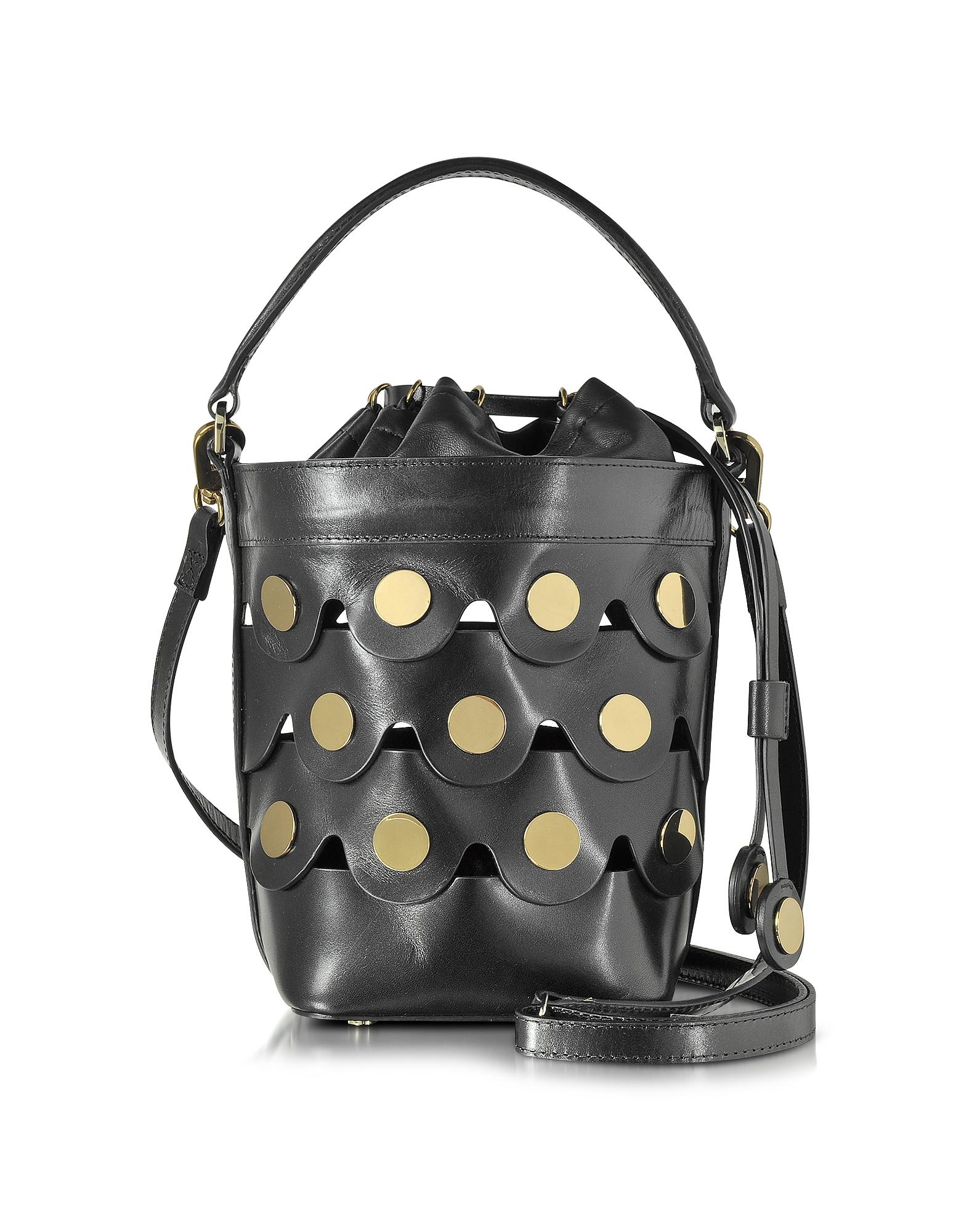 Pierre Hardy Handbags, Black Leather Penny Bucket Bag w/Golden Studs
