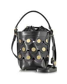 Black Leather Penny Bucket Bag  w/Golden Studs  - Pierre Hardy
