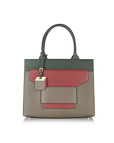 Jane Army and Red Leather Tote - Pierre Hardy