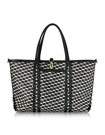 Pierre Hardy - Black Polycube Printed Canvas and Leather Tote Bag