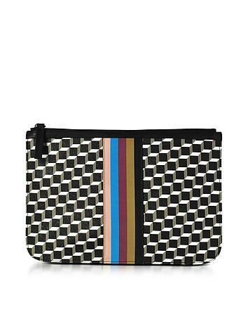Pierre Hardy - Large Black and White Cube and Stripes Canvas and Leather Pouch