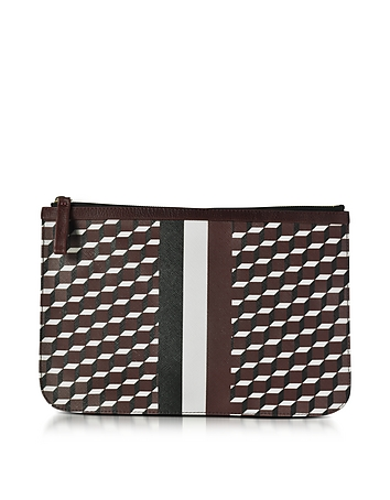 Pierre Hardy - Large Burgundy and White Cube and Stripes Canvas and Leather Pouch