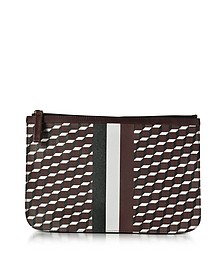 Large Burgundy and White Cube and Stripes Canvas and Leather Pouch - Pierre Hardy