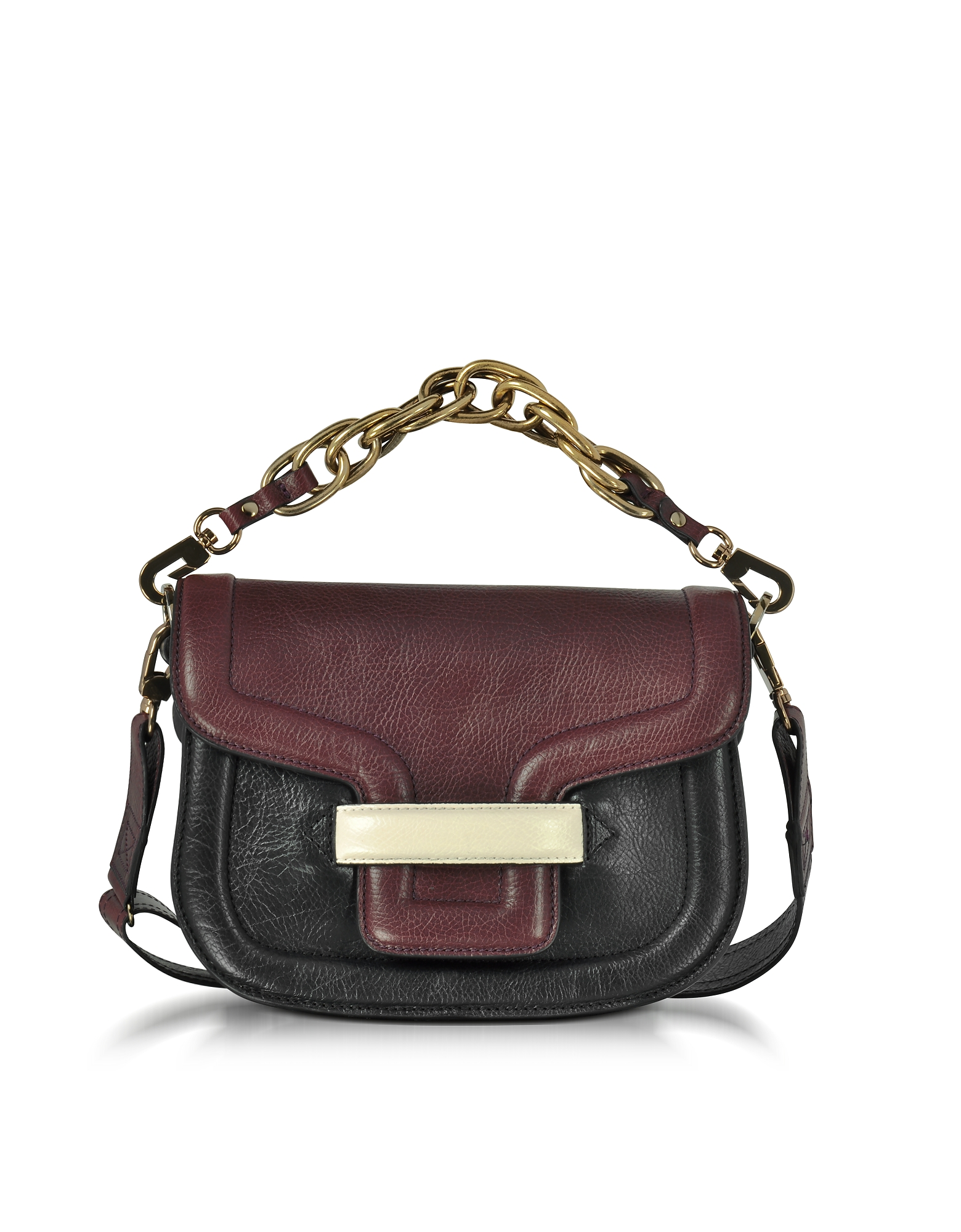 Burgundy Grainy Leather Mini AlphaVille Shoulder Bag