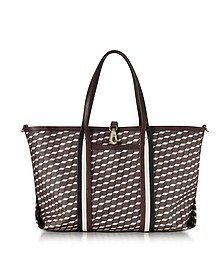 Burgundy Polycube Printed Canvas and Leather Tote Bag - Pierre Hardy