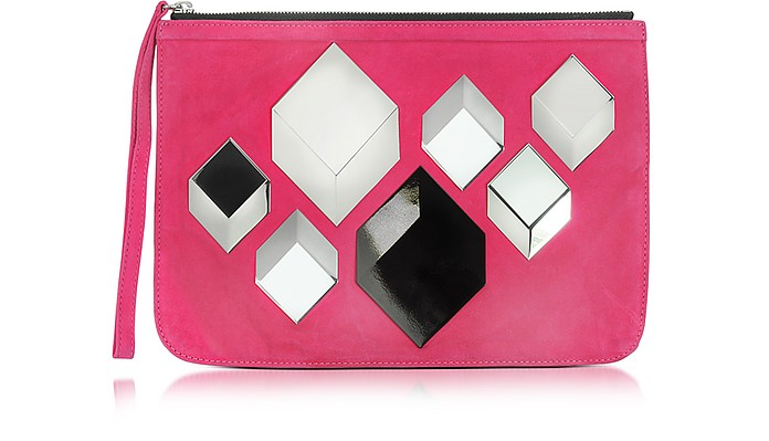 Cube Pink Suede Pouch - Pierre Hardy