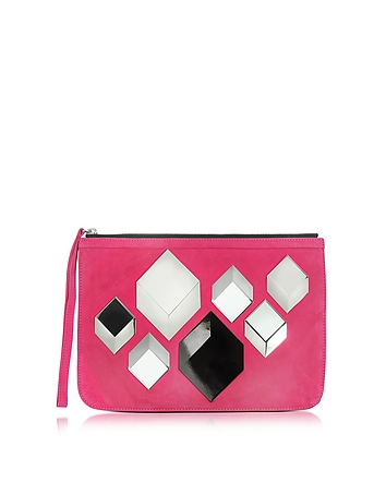 Cube Pink Suede Pouch