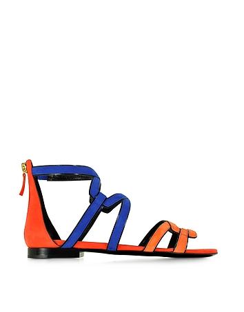 Kaliste Multicolor Suede Flat Gladiator Sandal