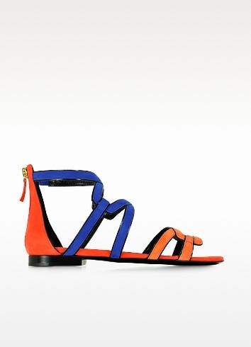 Kaliste Multicolor Suede Flat Gladiator Sandal - Pierre Hardy