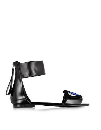 Oh Roy Black Leather Flat Gladiator Sandal