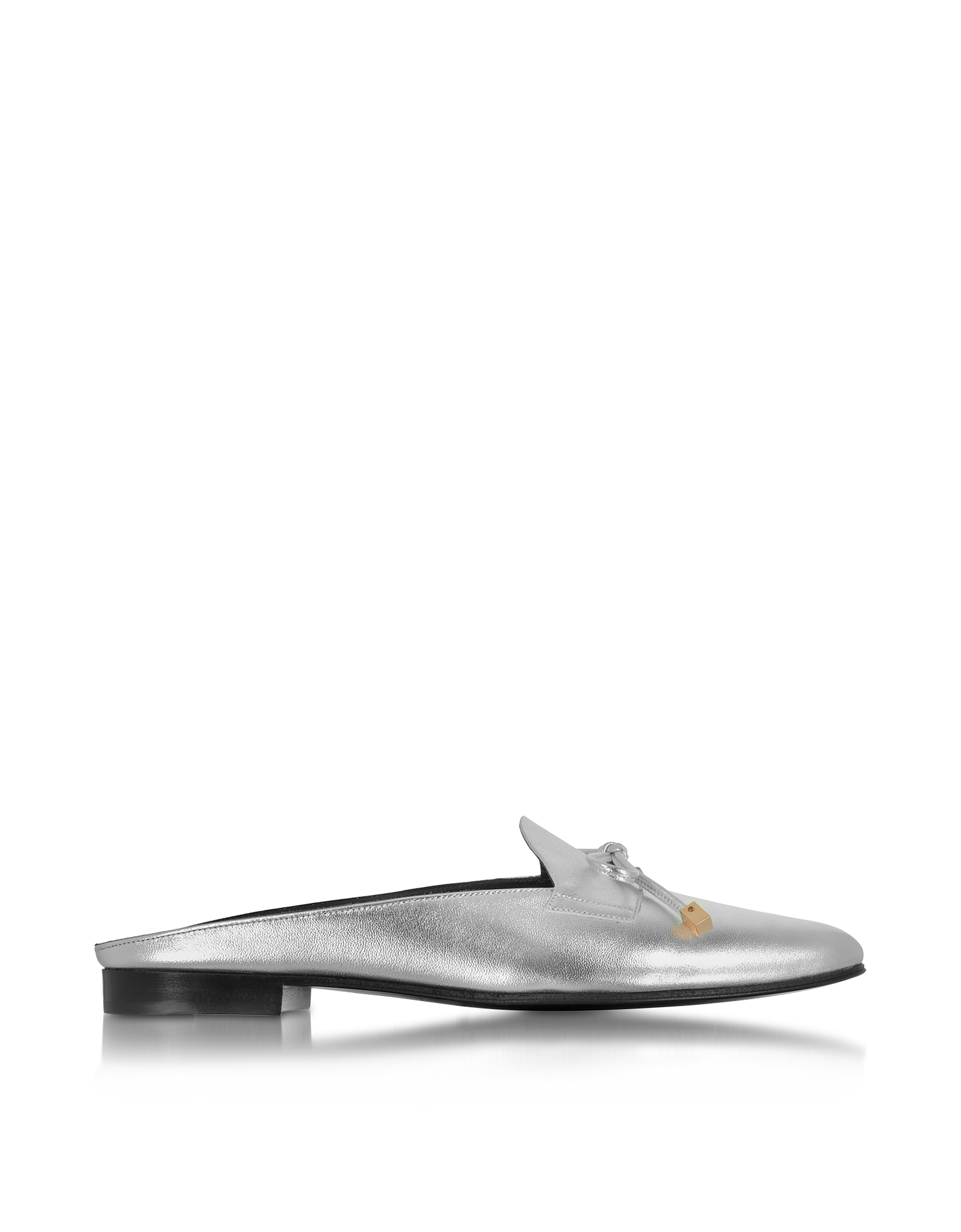 Pierre Hardy Shoes, Mademoiselle Jacno Silver Metallic Leather Mule