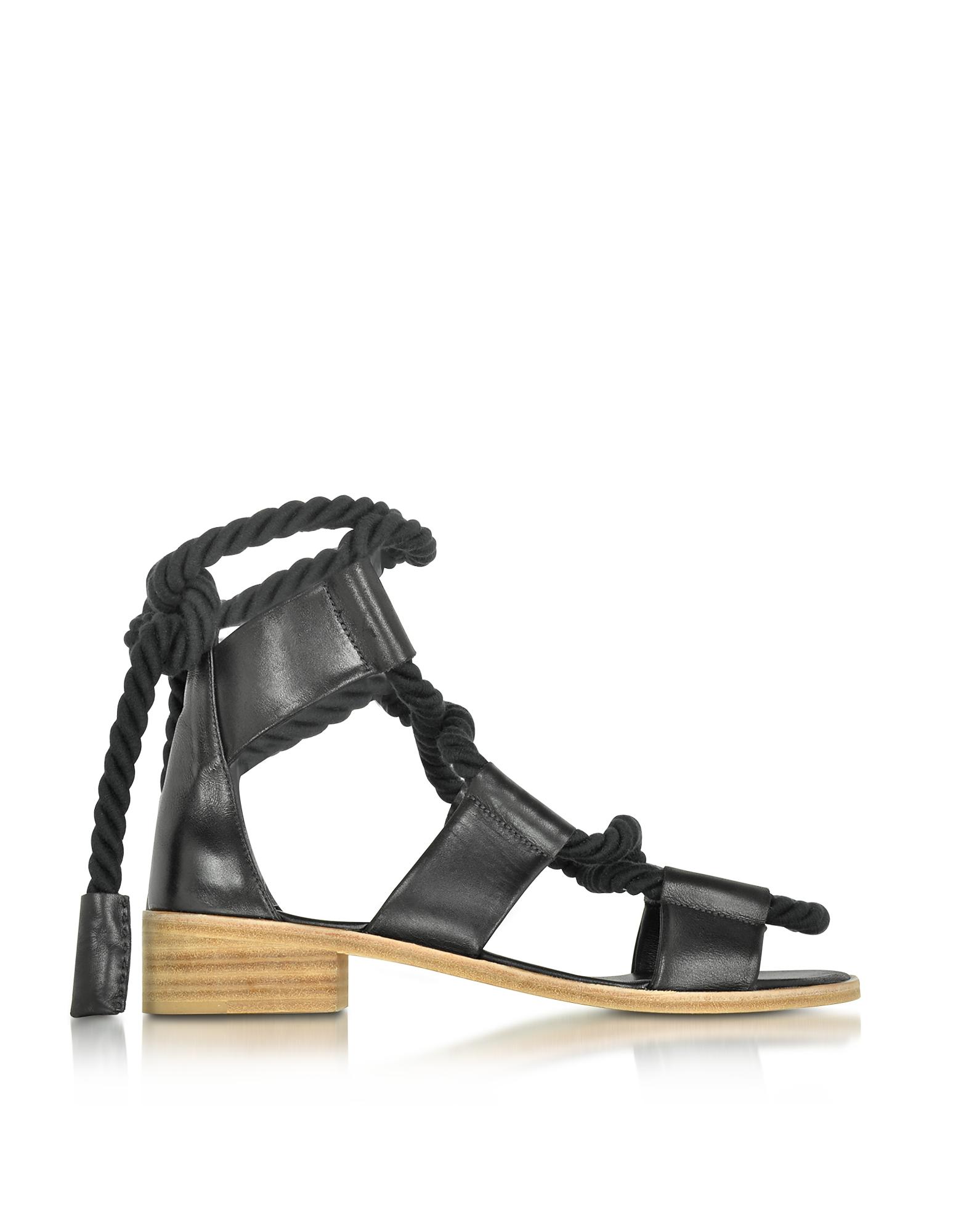 Pierre Hardy Shoes, Azur Black Leather Sandal