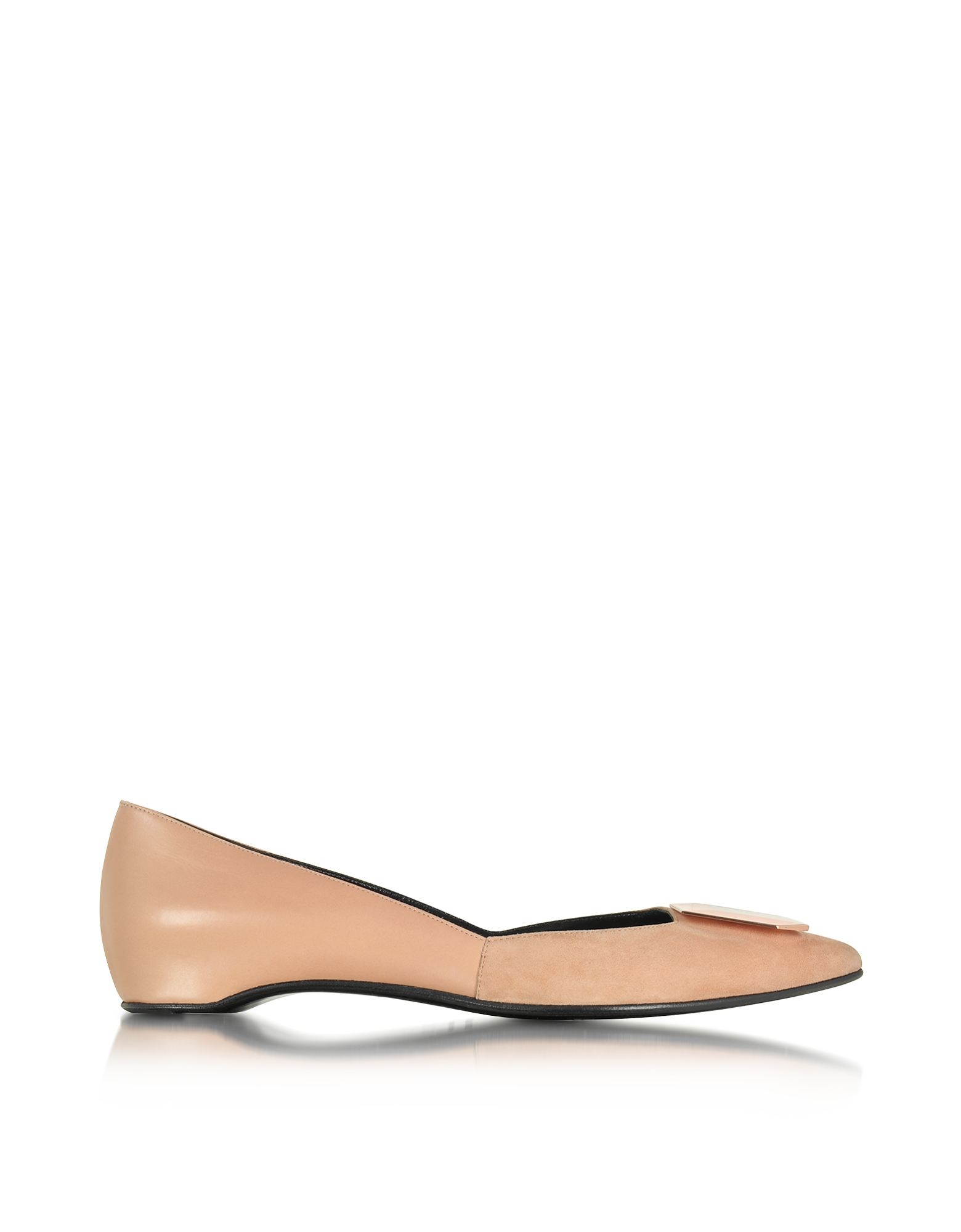 Pierre Hardy Shoes, De D'or Nude Suede and Leather Ballet Flat