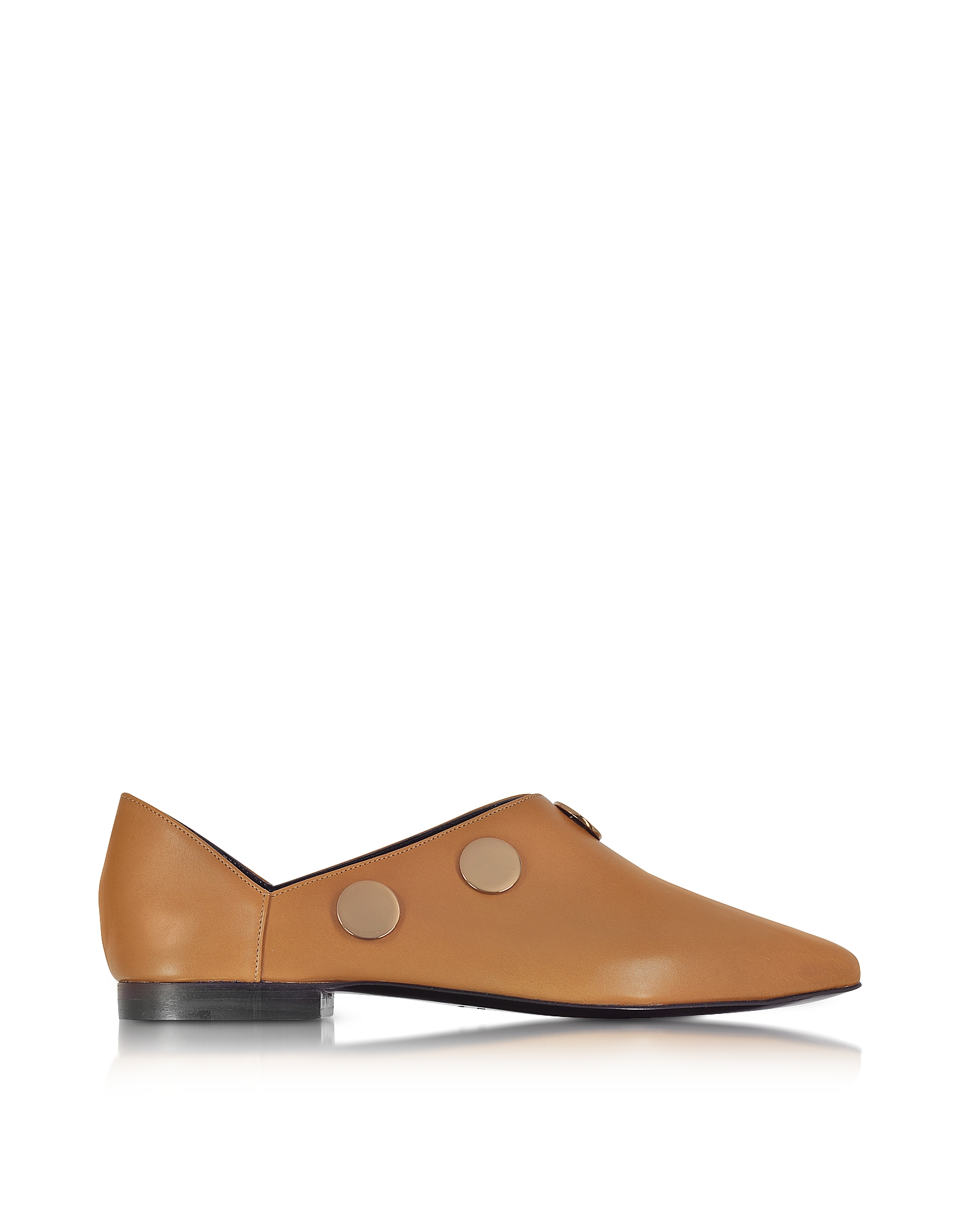 Pierre Hardy Shoes, Camel Leather Penny Mule w/Golden Metal Studs