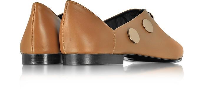 PIERRE HARDY Camel Leather Penny Mule W/Golden Metal Studs in Cammello