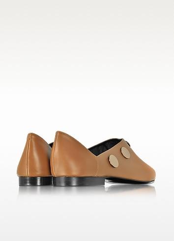 PIERRE HARDY Camel Leather Penny Mule W/Golden Metal Studs