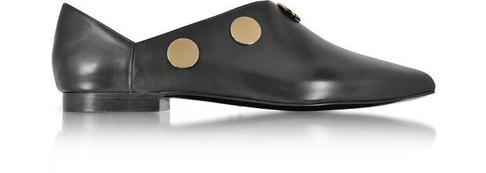 Black Leather Penny Mule w/Golden Metal Studs - Pierre Hardy