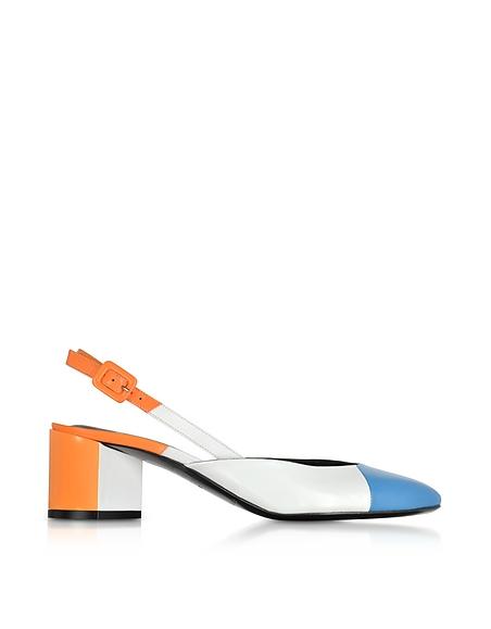 Pierre Hardy Blue White and Orange Mid Heel Slingback Pumps