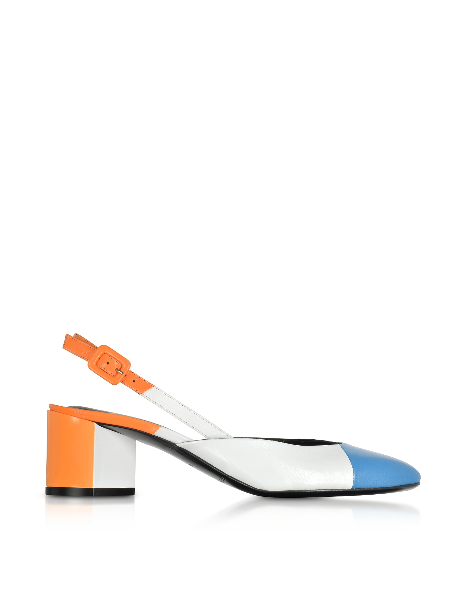 Pierre Hardy Shoes, Blue, White and Orange Mid Heel Slingback Pumps