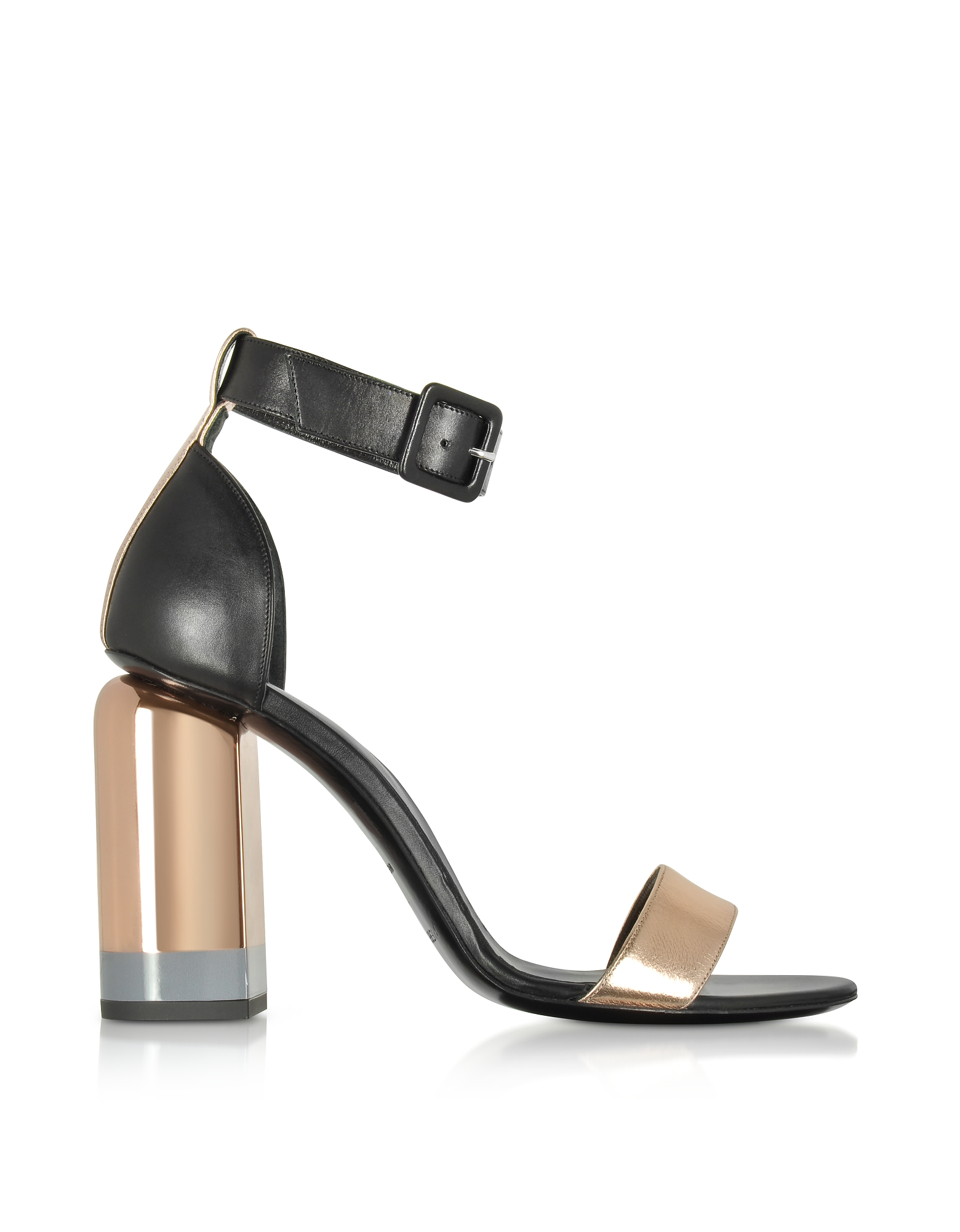 Pierre Hardy Shoes, Metallic Pink and Black Leather Heel Sandals