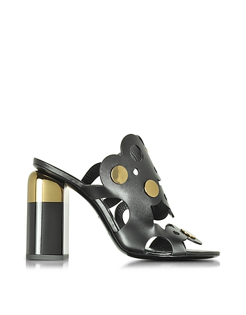 Pierre Hardy - Penny Lace Black Leather High Heel Mule