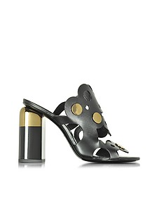 Penny Lace Black Leather High Heel Mule - Pierre Hardy