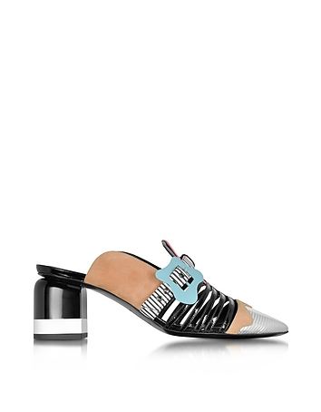 Pierre Hardy - Multicolor Stripes Leather & Suede Alchimia Mule