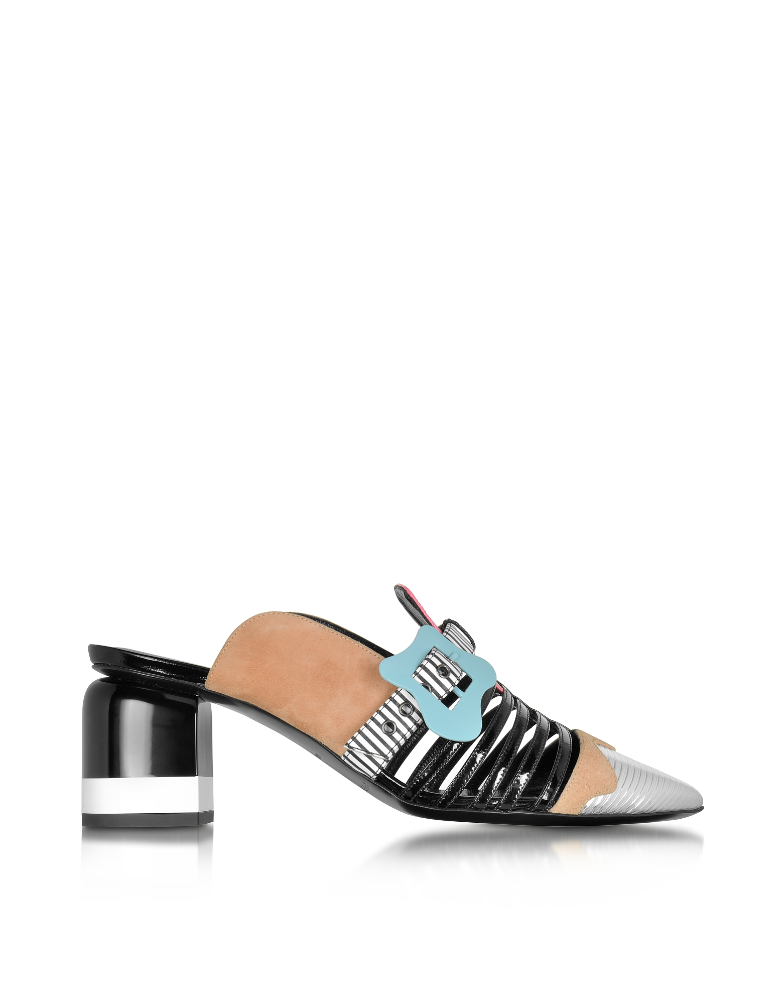 Pierre Hardy Shoes, Multicolor Stripes Leather & Suede Alchimia Mule