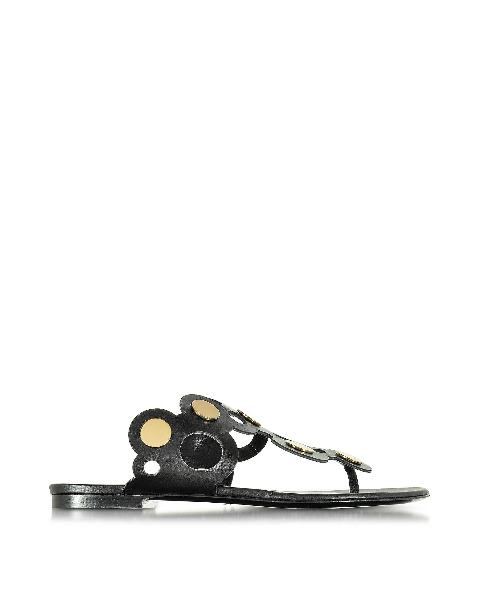 Pierre Hardy Shoes, Black Leather Penny Lace Flat Mule