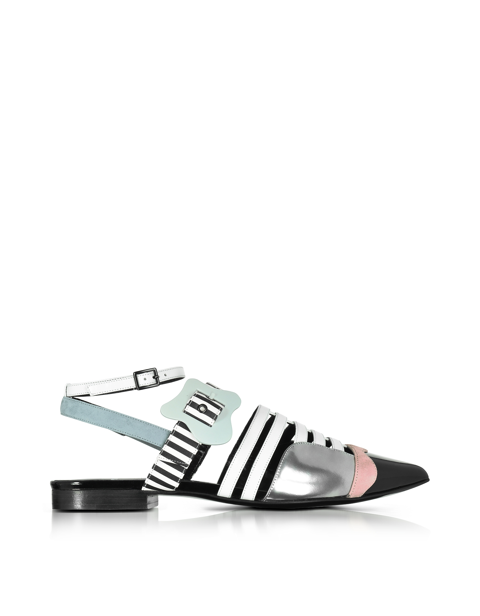 Pierre Hardy Shoes, Multicolor Stripes Leather Alchimia Flat Sandal