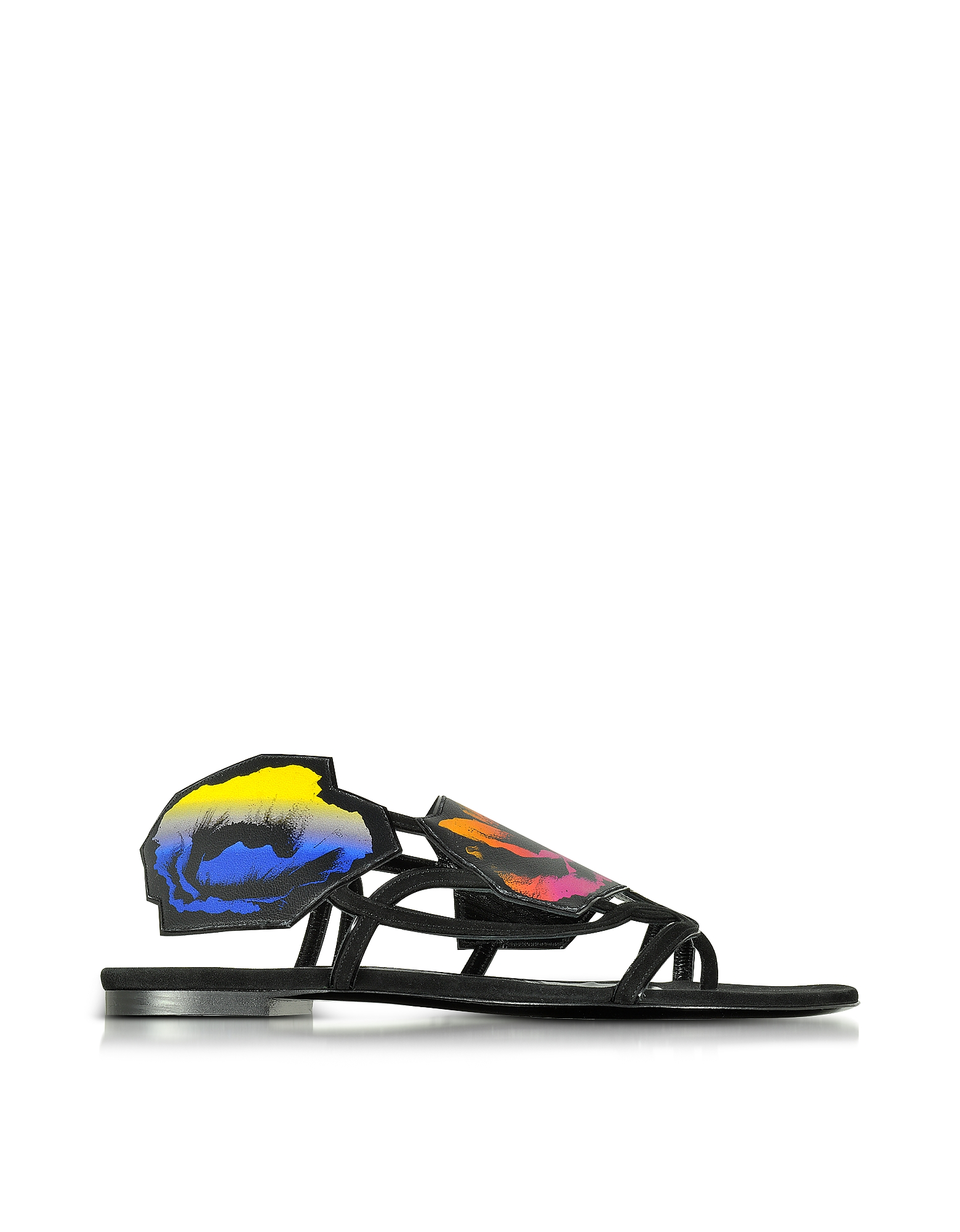 Pierre Hardy Shoes, Multicolor Leather and Suede Poppy Flat Sandals