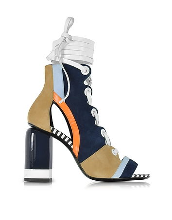 Pierre Hardy - Alchimia Color Block Suede Lace Up Sandal