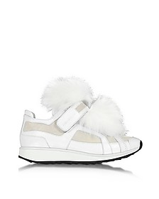 Runner White Leather and Fur Sneaker - Pierre Hardy
