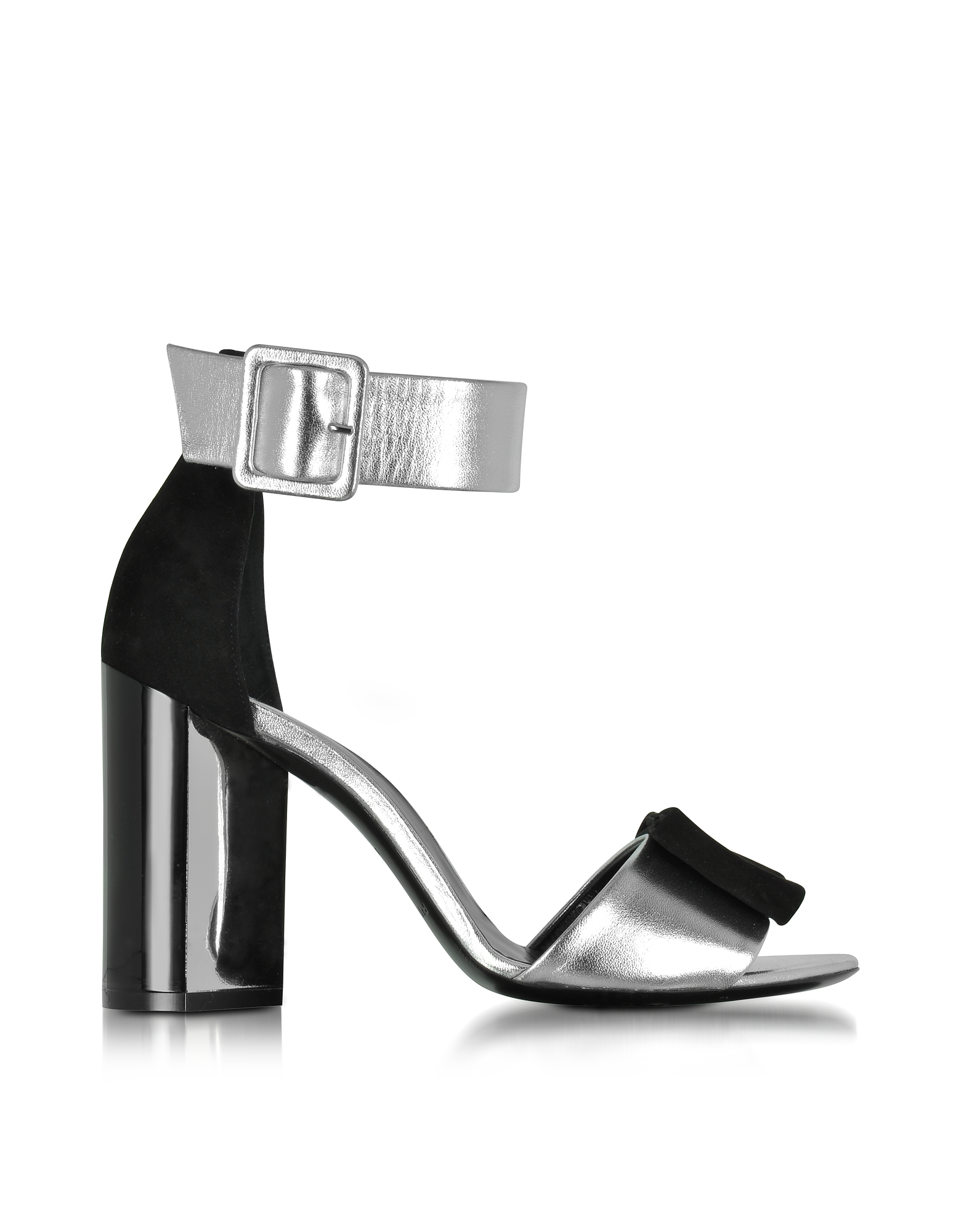 Pierre Hardy Shoes, Obi Black Suede & Silver Leather Sandal