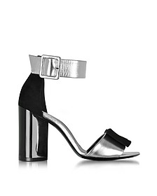 Obi Black Suede & Silver Leather Sandal - Pierre Hardy