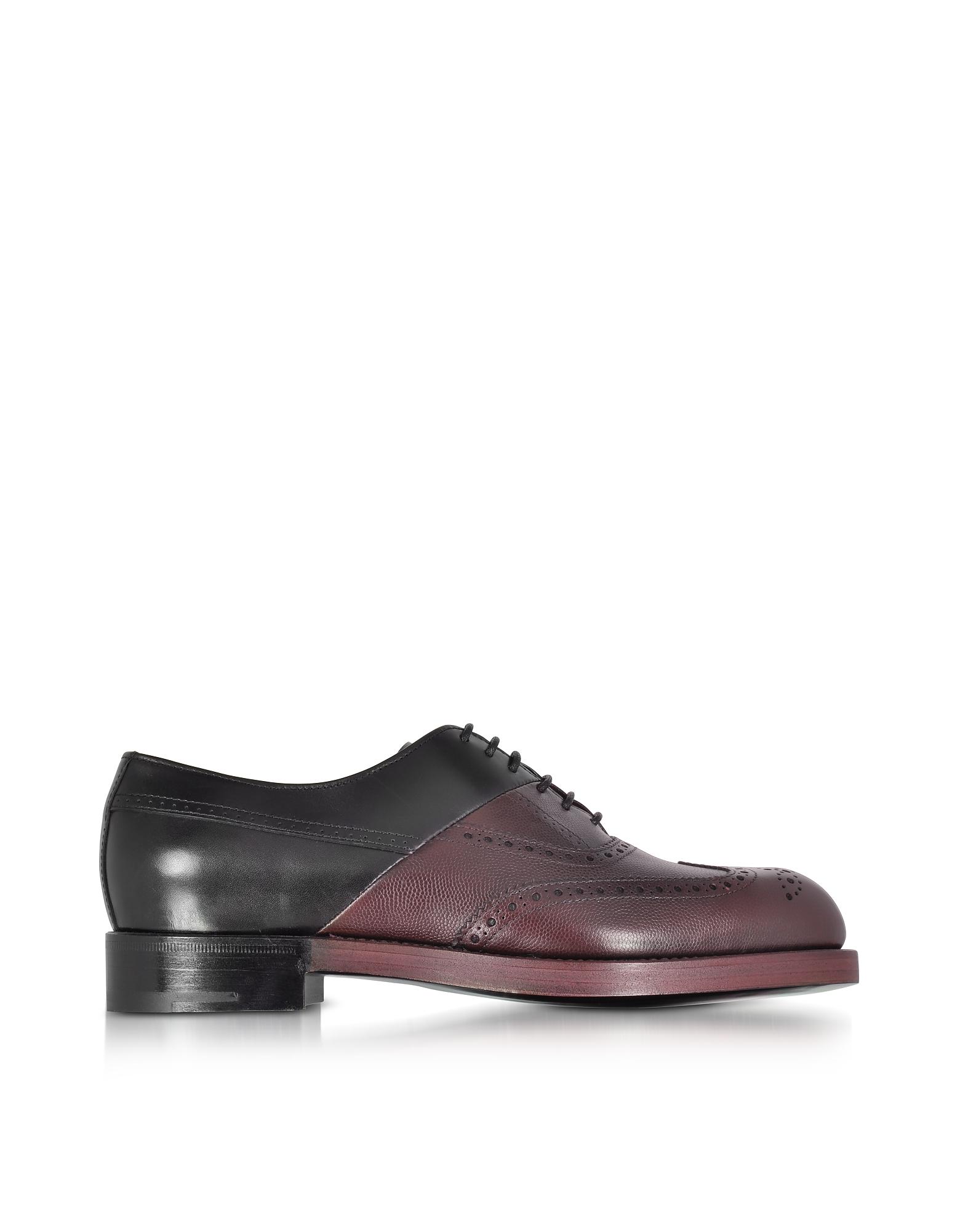 Фото Twin Perfo - Черные и Бордовые Кожаные Туфли Лодочки. Купить с доставкой