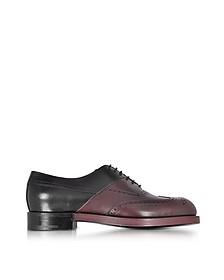 Twin Perfo Black & Burgundy Leather Oxford Shoe - Pierre Hardy