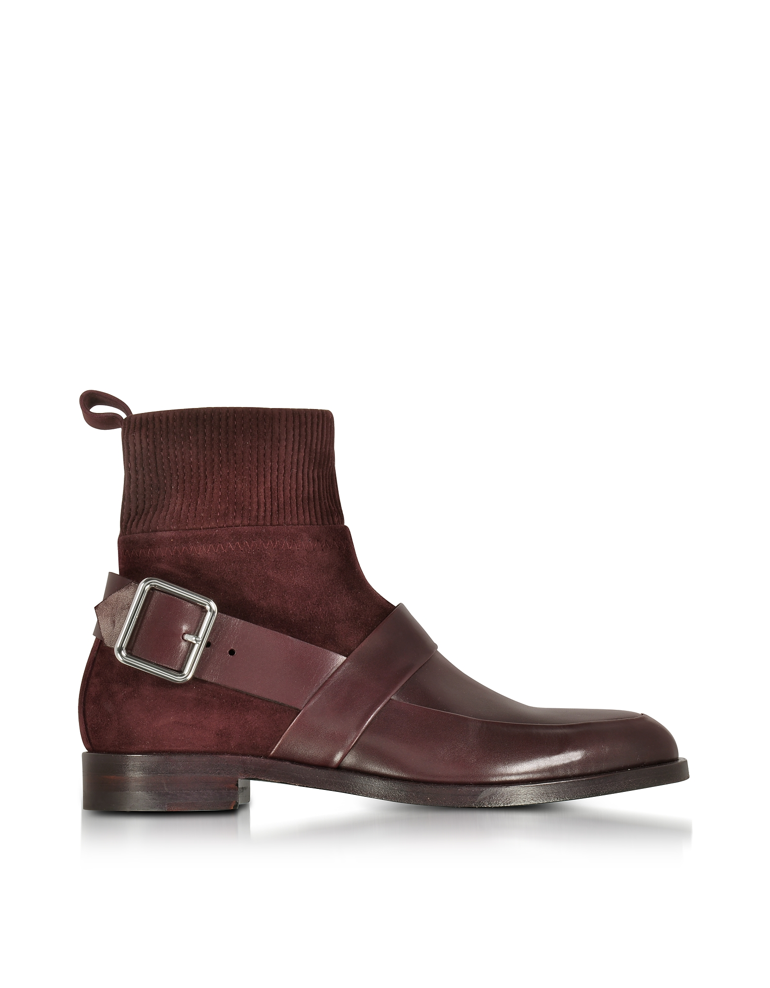 Pierre Hardy Shoes, Fusion Burgundy Suede & Leather Ankle Boot