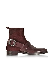 Fusion Burgundy Suede & Leather Ankle Boot - Pierre Hardy