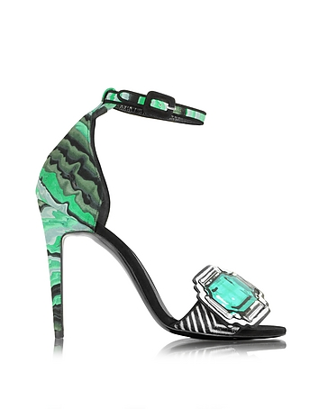 Pierre Hardy - Mega Gem Green Leather and Haircalf Sandal