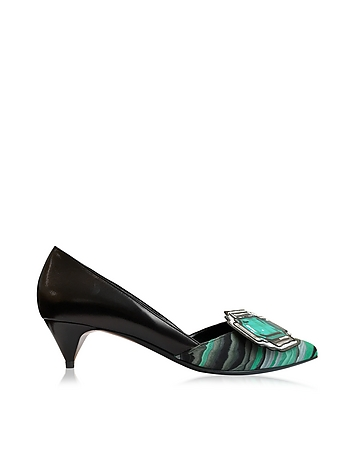 Pierre Hardy - Mega Gem Black and Green Leather Mid Heel Pump