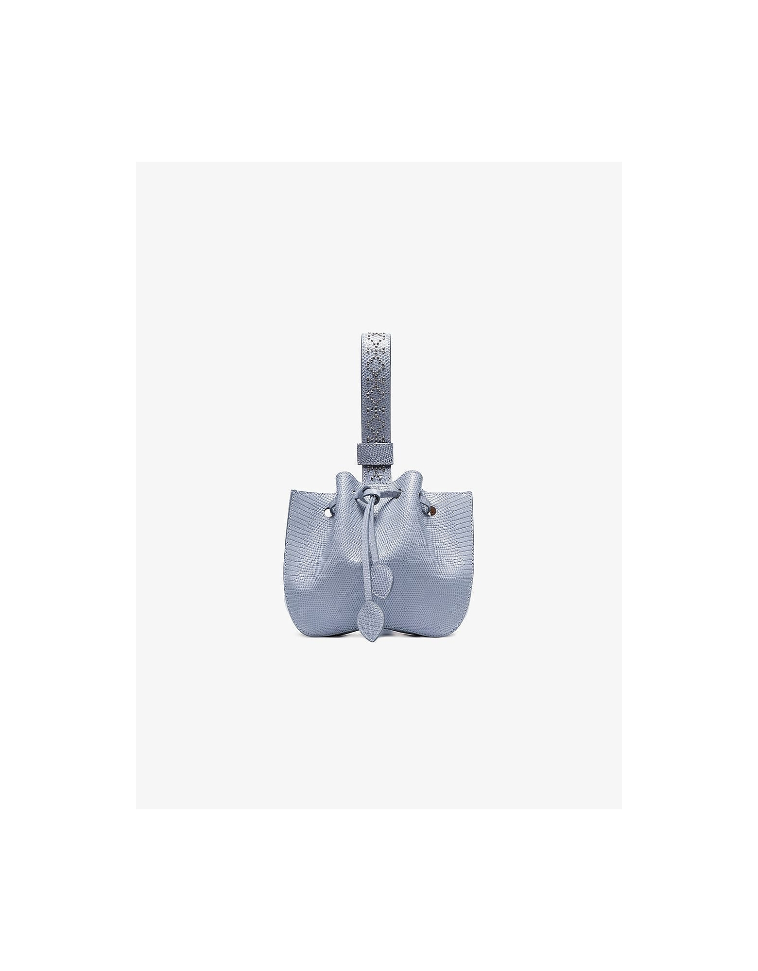 Alaïa Designer Handbags, Rose Maria Mini Lizard Skin Bucket Bag