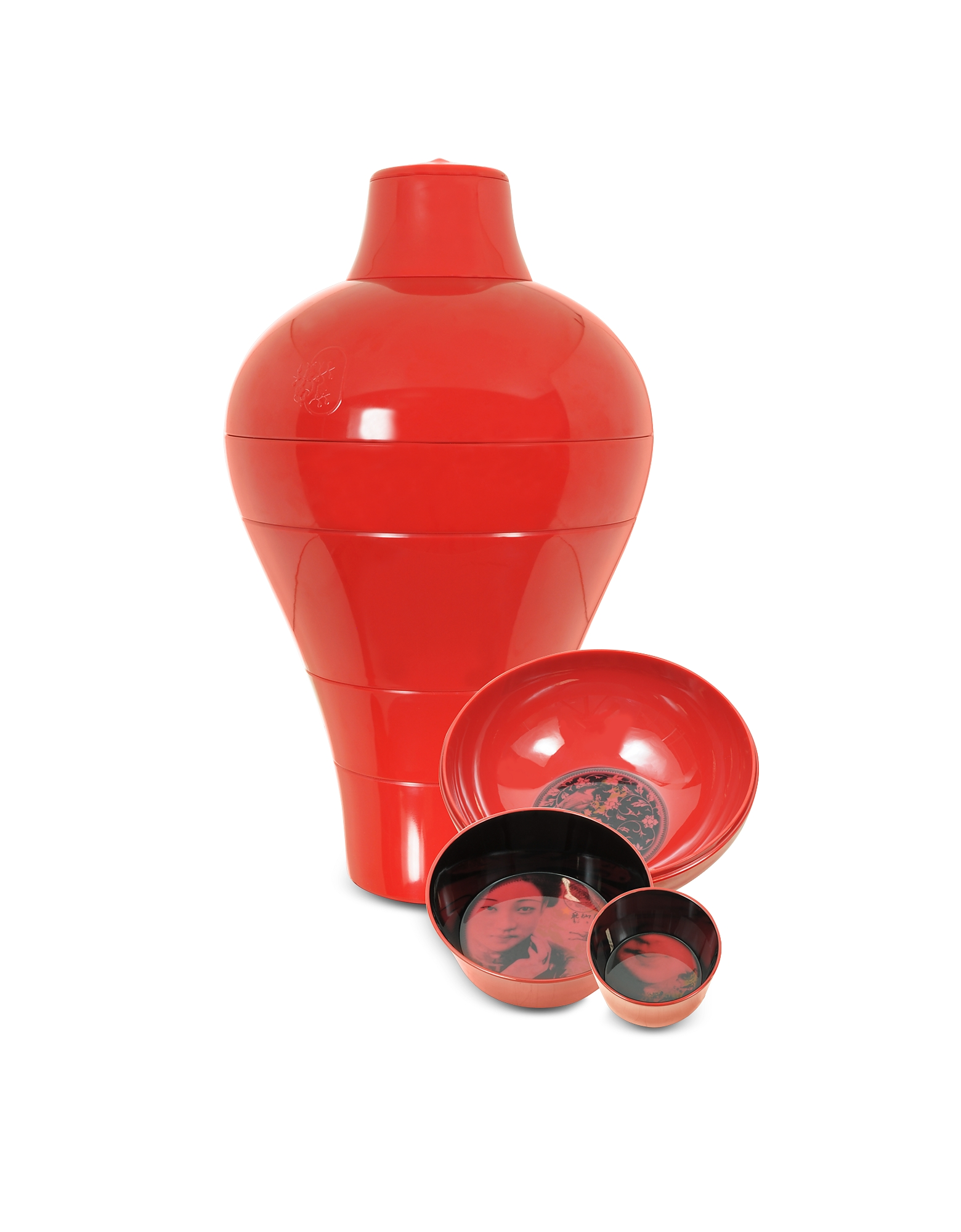 Red Ming Vase / Stackable Bowls