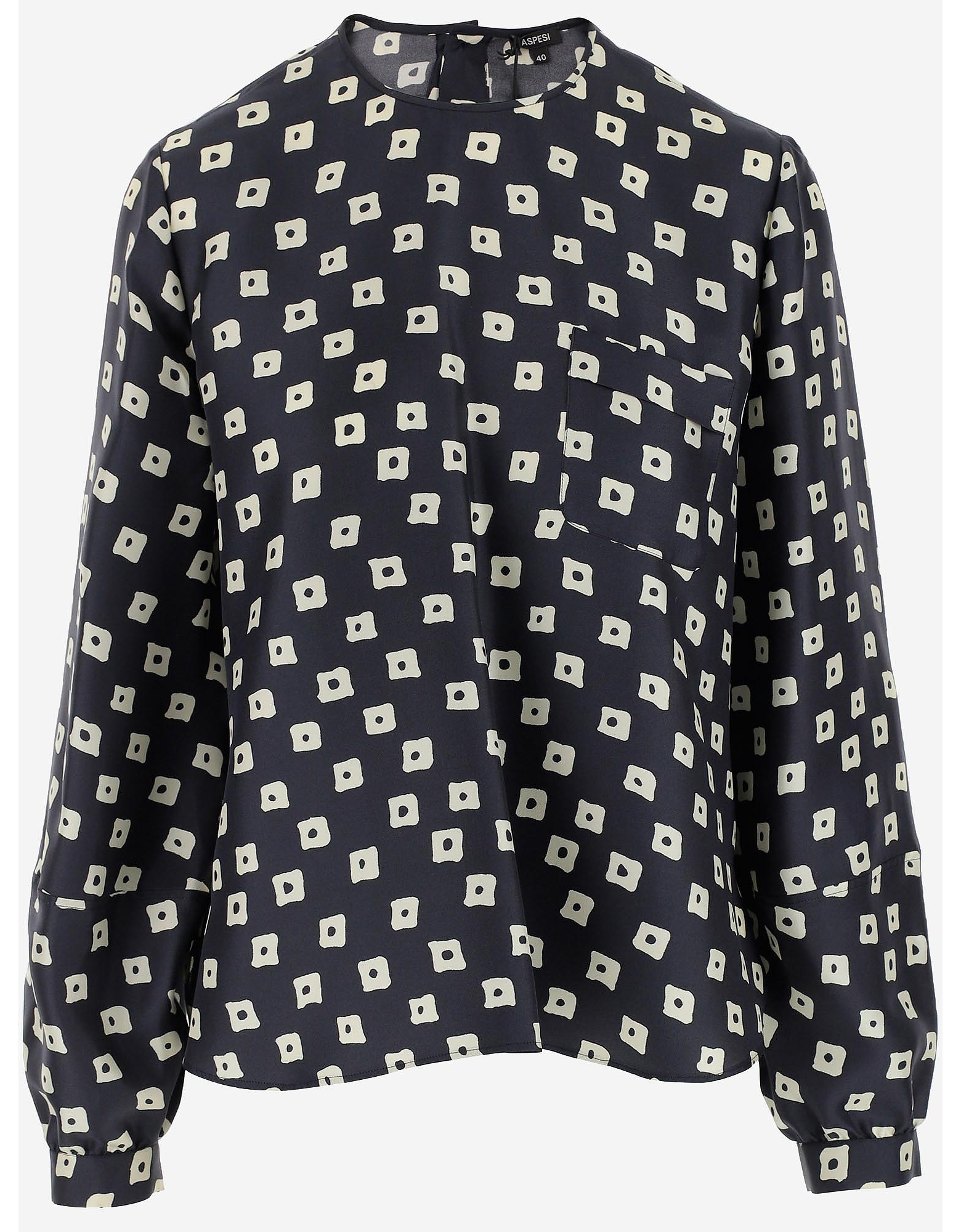 Aspesi Designer Shirts, Blue Printed Silk Women's Blouse