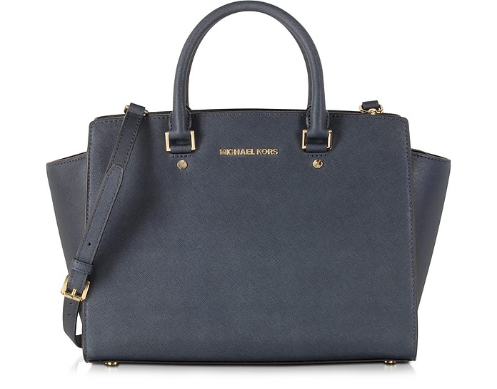 Selma Large Top-Zip Saffiano Leather Satchel - Michael Kors