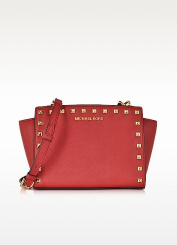 Selma Studded Red Saffiano Leather Medium Messenger  - Michael Kors