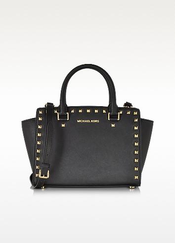 Selma Medium Studded Black Saffiano Leather Satchel - Michael Kors