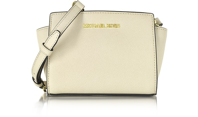 Ecru Saffiano Leather Selma Mini Messenger Bag - Michael Kors