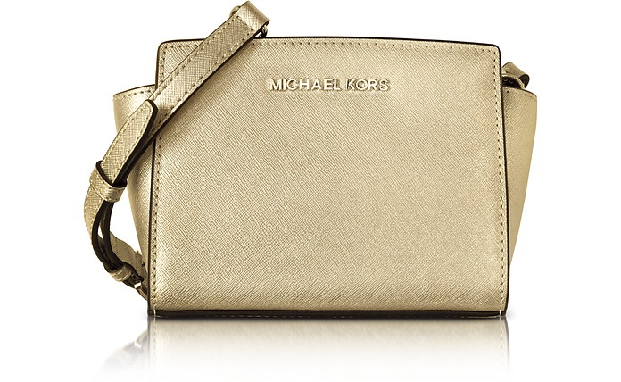 Pale Gold Metallic Saffiano Leather Selma Mini Messenger Bag - Michael Kors
