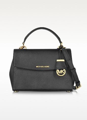 Ava Black Saffiano Leather Small Satchel Bag - Michael Kors